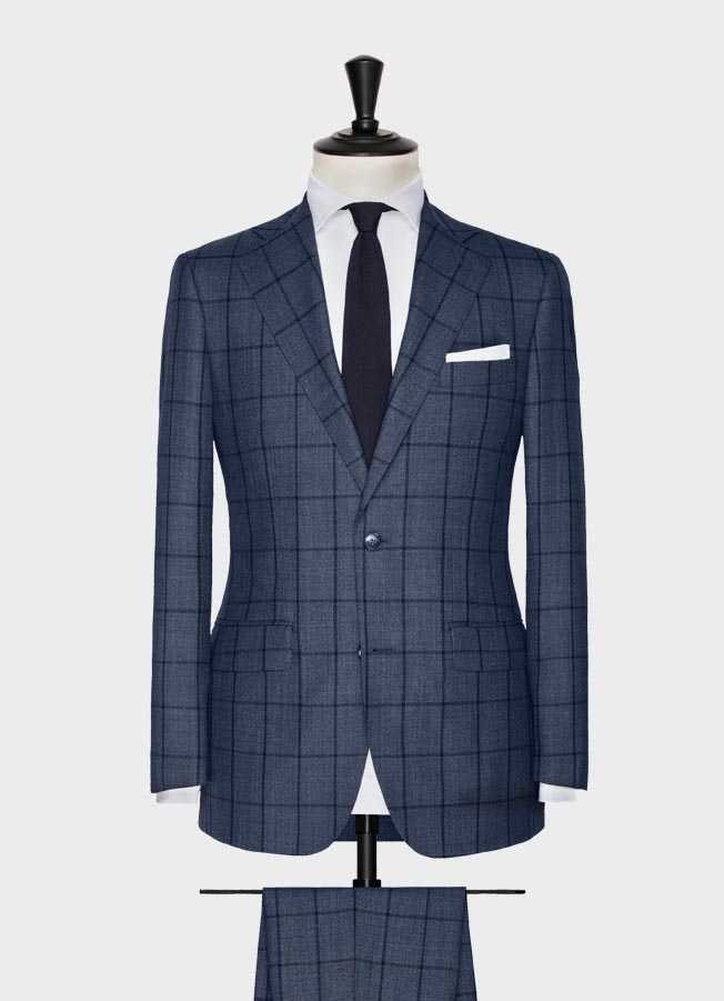 Slate blue with midnight blue windowpane suit