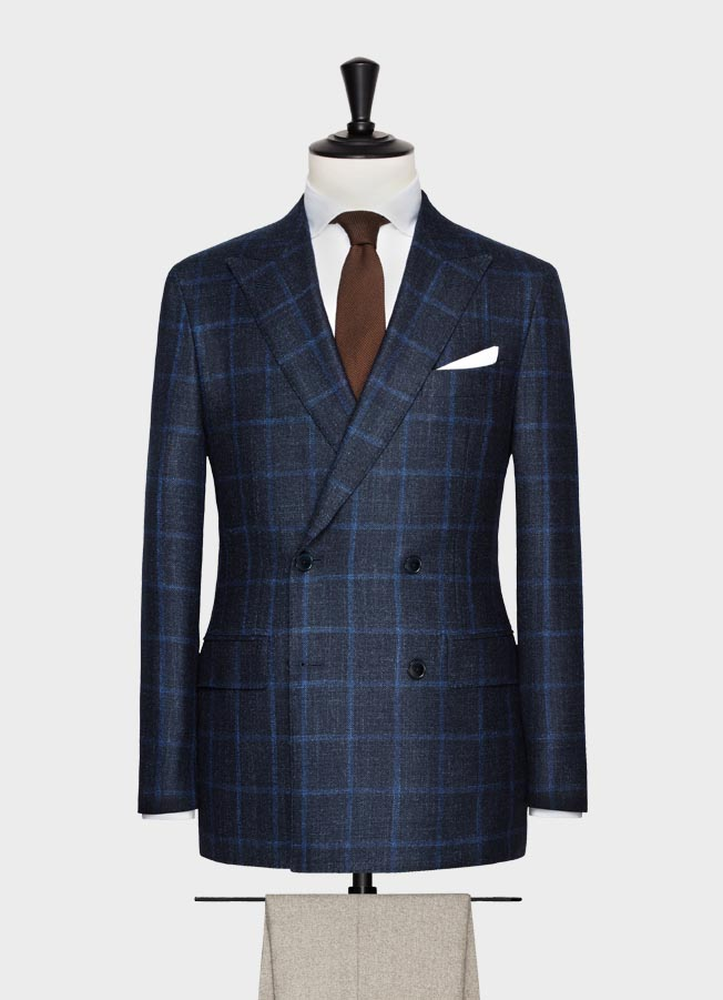 Navy with bright blue windowpane wool-silk-cashmere jacket