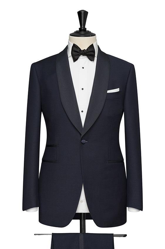 Wool&mohair barathea navy blue tuxedo