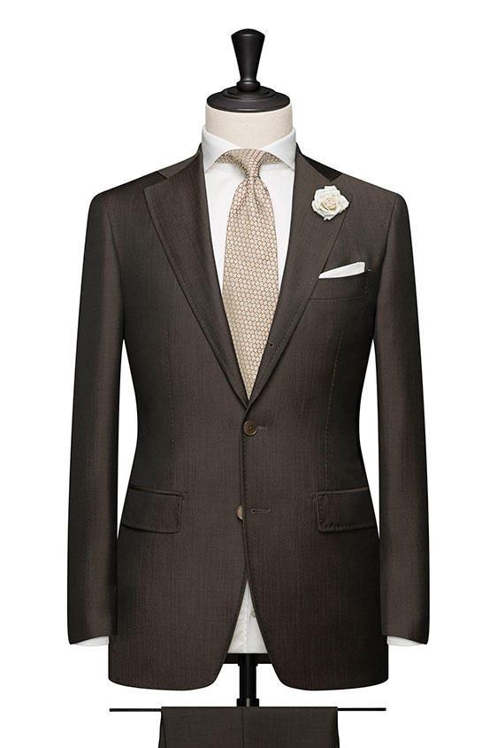 Dark brown twill wool-mohair wedding suit