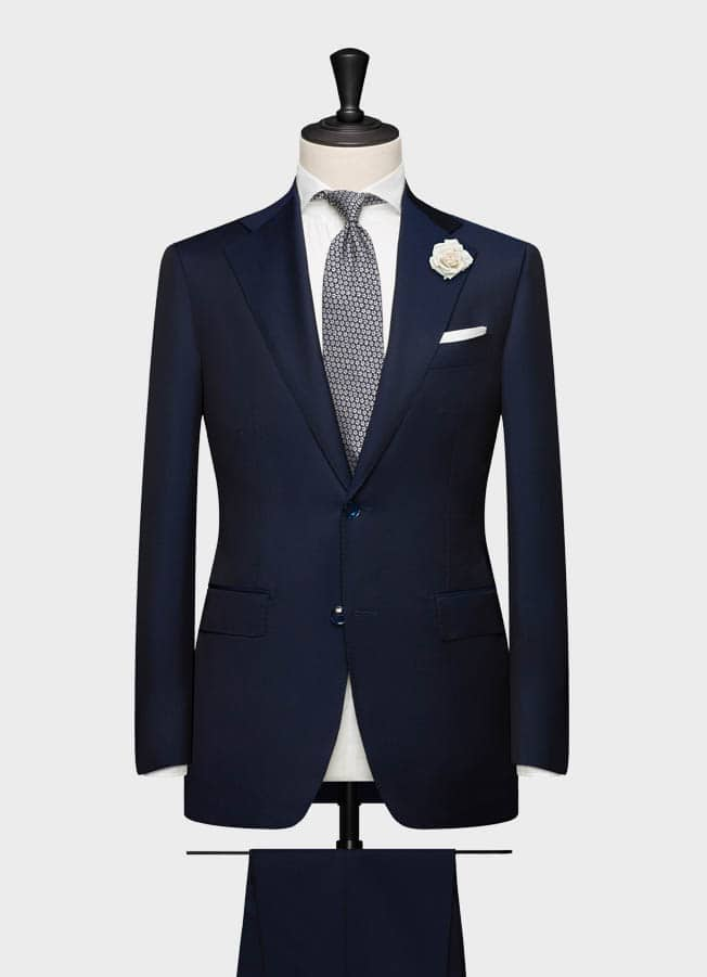 Dark blue twill wool-mohair wedding suit