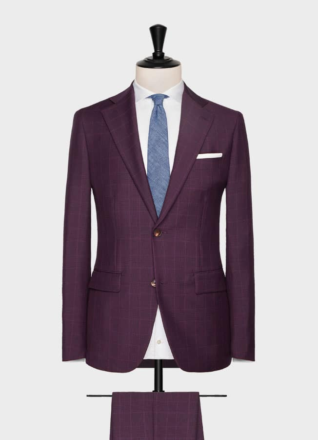 Burgundy glencheck with light blue check suit