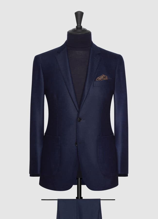 Midnight blue brushed comfort wool suit
