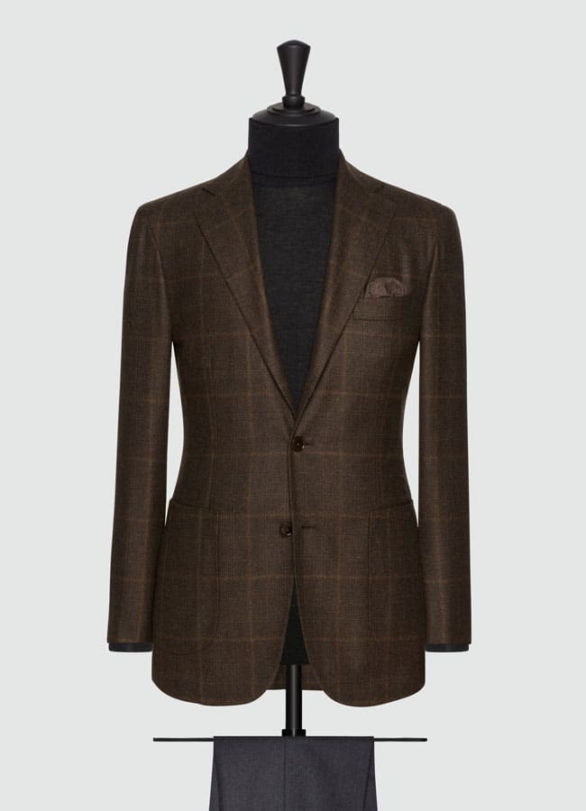 Rust brown wool glencheck jacket
