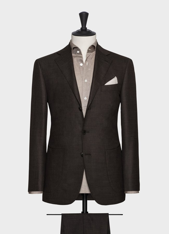 Dark brown comfort wool-silk with micro-effect suit