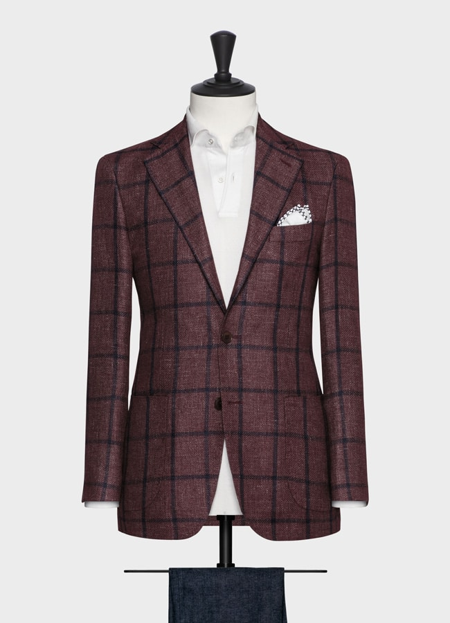 Burgundy linen-alpaca-silk with blue windowpane jacket