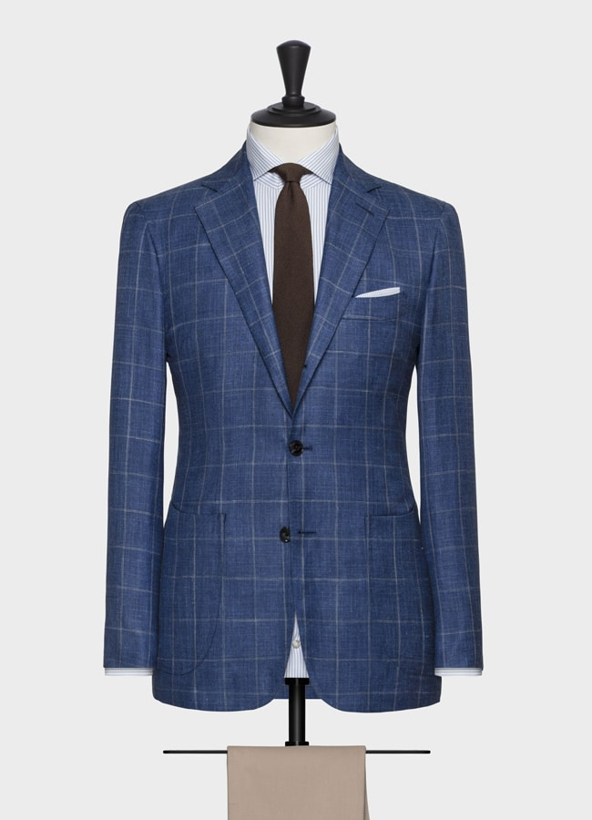 Royal blue wool-silk-linen with windowpane jacket