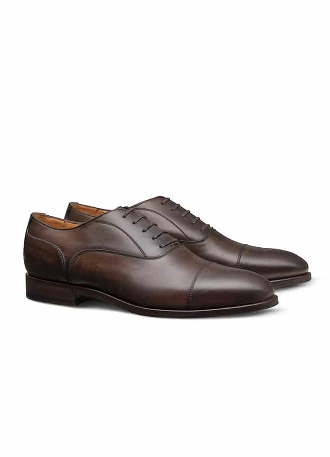 Oxford with cap toe fine calf chocolate brown