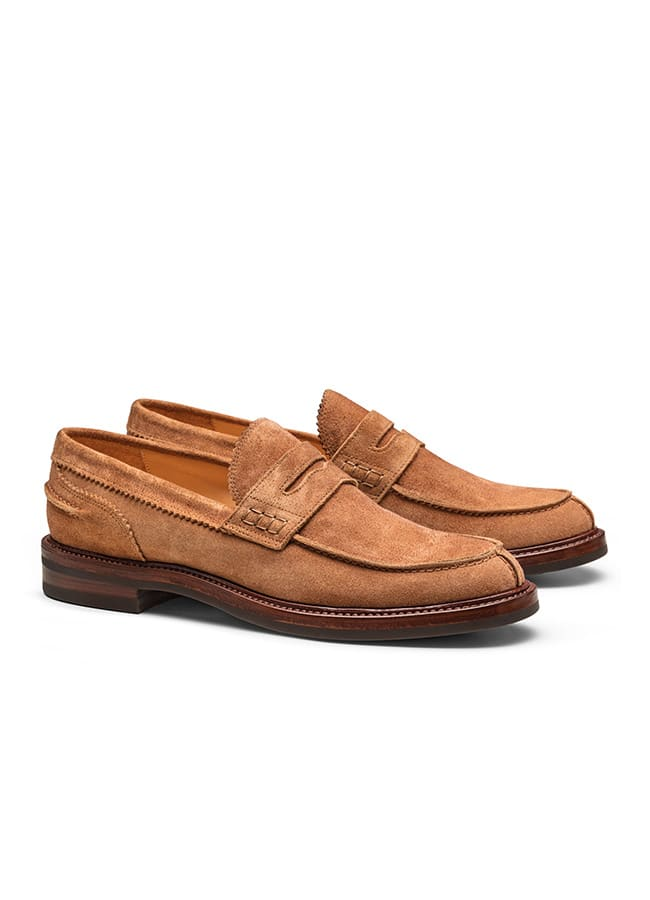 Penny loafer washed suede terracotta