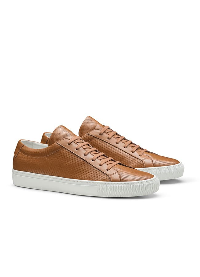 Low-top sneaker perforated sneaker camel