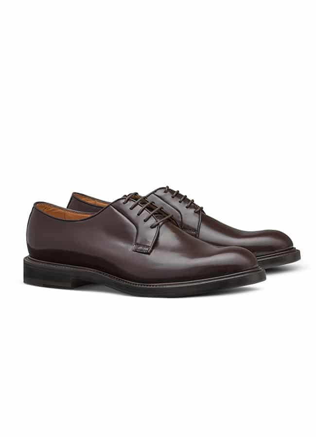 Derby with plain tip fine calf dark brown