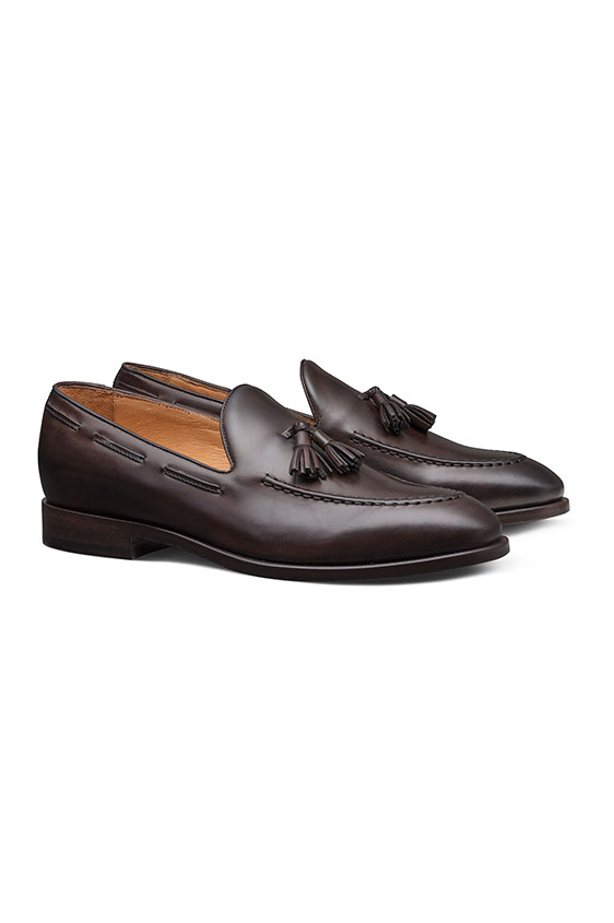 Tassel loafer fine calf dark brown