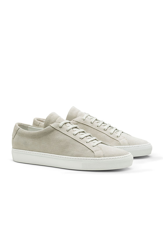 Low-top sneaker perforated summer suede light gray