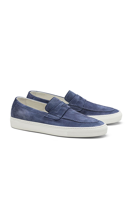 Penny sneaker washed suede medium blue