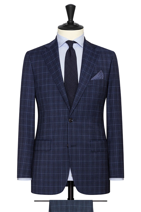 Navy tropical wool with fine black-light blue check suit