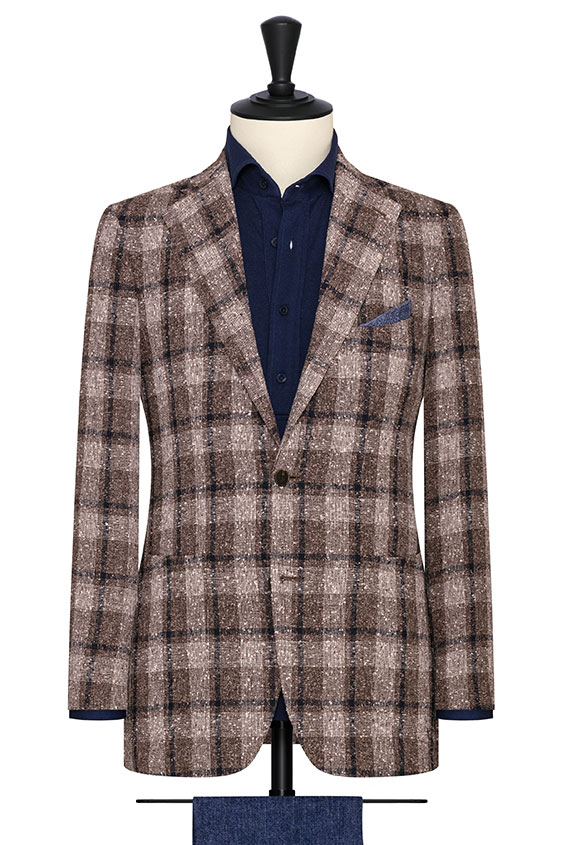 Taupe-ivory-navy linen blend slubbed open weave with glencheck jacket