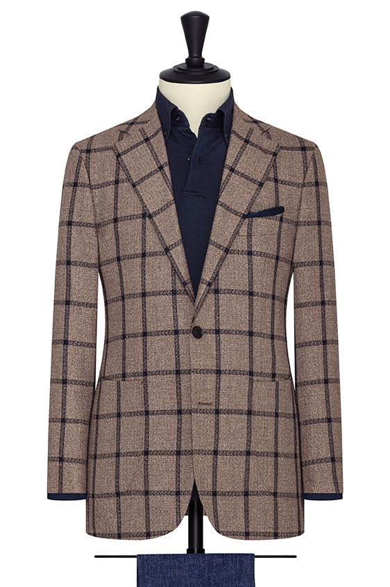 Light brown faux uni silk-linen-cotton with navy check jacket