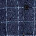 Dark blue mélange wool-silk-linen textured twill with white windowpane jacket