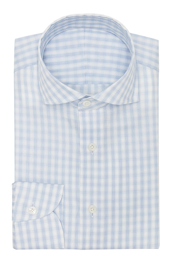 Sky blue cotton with white stripes and subtle check shirt