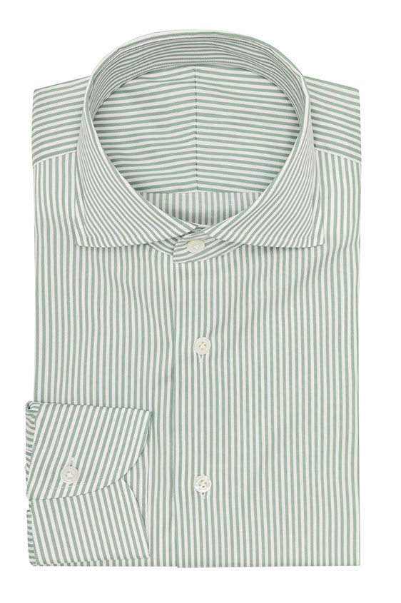 Sage green cotton blend with ne white stripes shirt