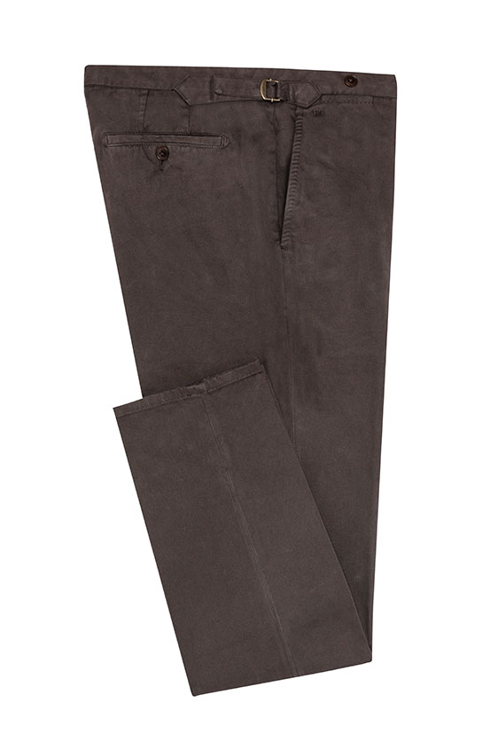 Dark brown garment-dyed stretch broken twill chinos