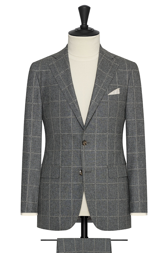 Stone grey wool with fine white-brown windowpane suit