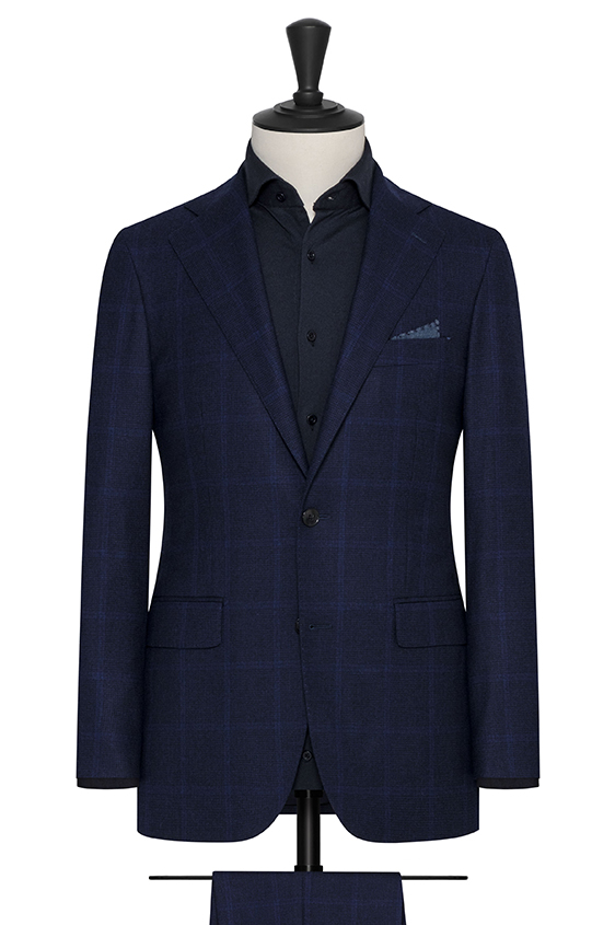 Midnight blue wool-cashmere with subtle windowpane suit