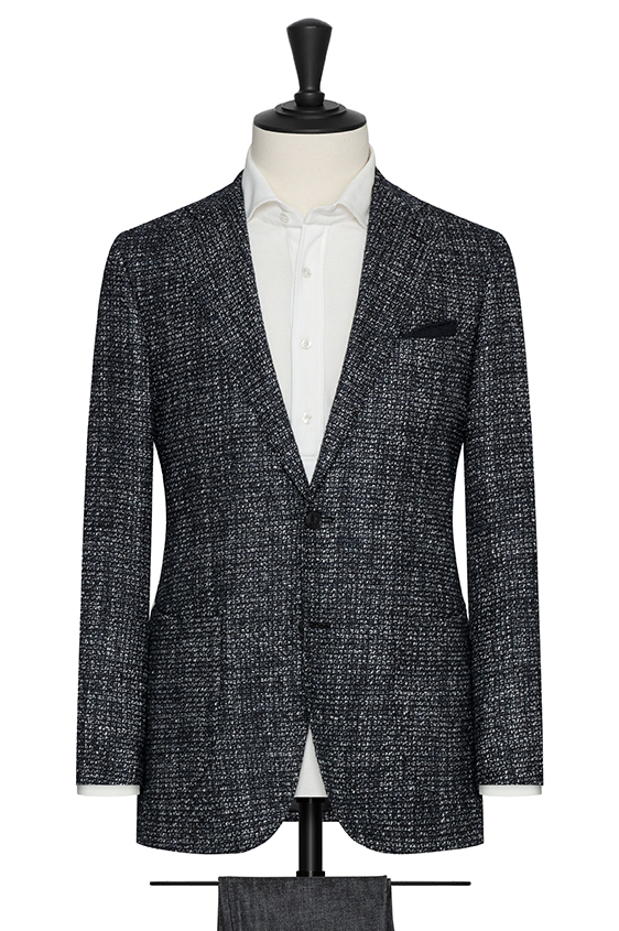 Black-white-midnight wool-aplaca blend with micro check jacket