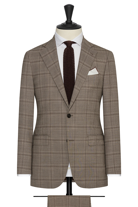 Taupe s130 wool with chocolate glencheck suit